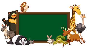 Bordvorlage mit wilden Tieren vektor
