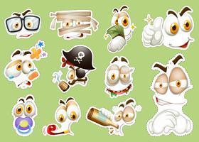 Klistermärke design med olika ansikten