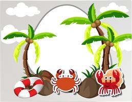 Rund gräns med krabbor och kokospalmer vektor