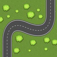 Flygfoto över vägen på den gröna marken vektor