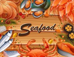 Verschiedene Arten von Meeresfrüchten an Bord vektor