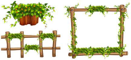 Holzrahmen und Zaun mit Pflanzen vektor