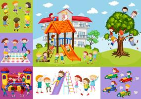 Barn har kul på skolan och lekplatsen vektor