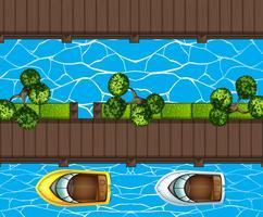 Draufsicht des Bootsparkens am Pier vektor