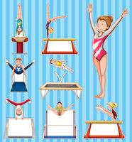 Klistermärke satt för personer som gör gymnastik
