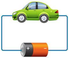 Rahmendesign mit Auto und Batterie vektor