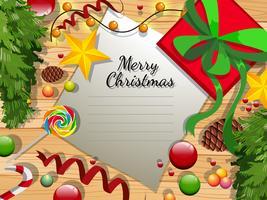 Karte der frohen Weihnachten mit vielen Verzierungen vektor