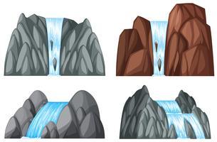 Fyra mönster av vattenfall och stenar