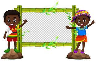 Bambu ram med två barn vektor