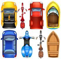 Uppifrån av olika transporter