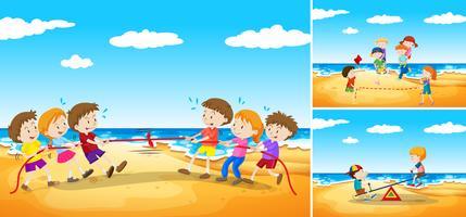 Barn spelar spel på stranden vektor