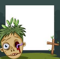 Border design med zombie huvud vektor