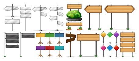 Holz- und Metallschilder vektor