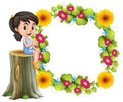 Liten flicka och blomma gräns vektor