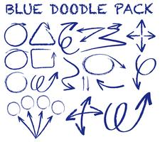 Olika doodle slag i blå färg