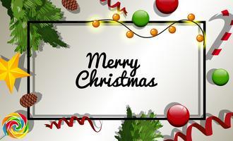 Julkortsmall med många julpynt vektor