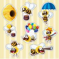 Klistermärke design med bin och bikupa vektor