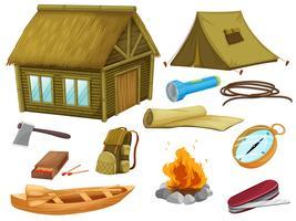 verschiedene Objekte des Campings vektor