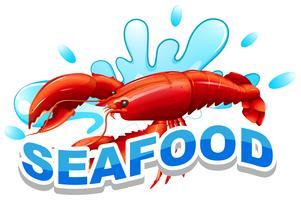 Wort Meeresfrüchte und Hummer auf Wasser