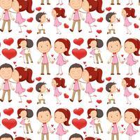 Nahtlose küssende und umarmende Paare vektor