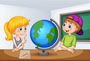 Pojke och tjej som studerar geografi