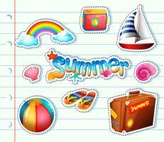 Aufklebersatz für Sommerartikel vektor