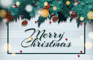 Gott julkort med pinecone på träd vektor