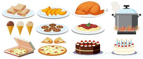 Verschiedene Speisen auf Tellern vektor