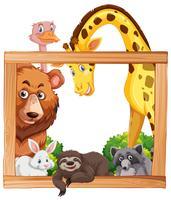 Träram med vilda djur vektor