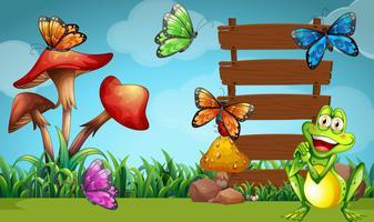 Frosch und Schmetterlinge am Schild vektor