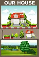 Scener med hus och park vektor