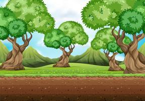 Nahtloser Hintergrund mit Bäumen im Garten vektor