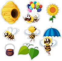 Klistermärke design för bin och bikupa vektor
