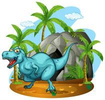 Dinosaurier, der in der Höhle lebt vektor