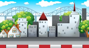 Scen med många byggnader i staden