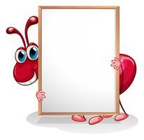 Eine Ameise, die ein leeres Whiteboard hält