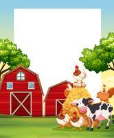 Gränsmall med djur på gården vektor