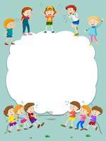 Gränsmall med glada barn som leker i bakgrunden vektor