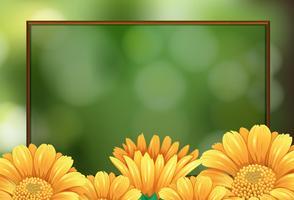 Gränsmall med gula blommor vektor