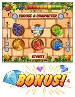 Computerspielvorlage mit Drachen als Spielfiguren