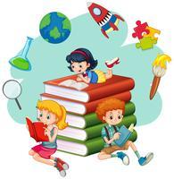 Drei Kinder, die Bücher lesen