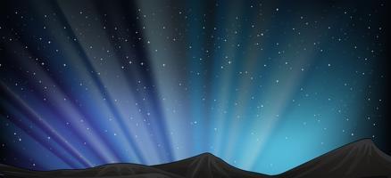 Bakgrundsscen med berg på natten vektor