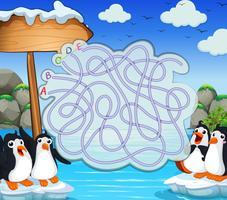 Spelmall med penquiner på isberg