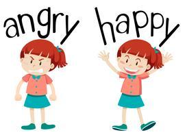 Gegensätzliche Wörter für wütend und glücklich vektor