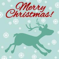 Jultema med ren och snöflingor vektor