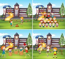 Barn som leker i skolgården vektor