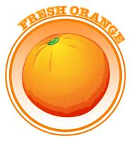 Färsk apelsin med text