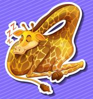 Söt giraff sover ensam