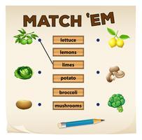 Zusammenpassendes Spiel mit frischem Gemüse vektor