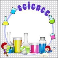 Border design med barn och vetenskap utrustning